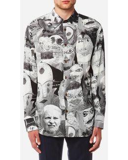 Men's Fetzen Puppet Print Cutaway Shirt