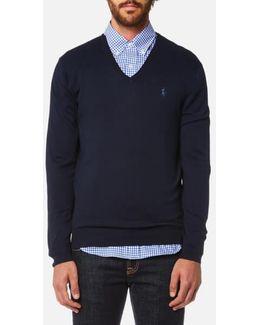 Men's Pima Cotton Vneck Knitted Jumper