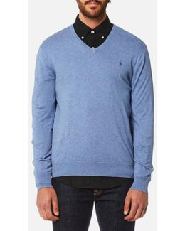 Men's Pima Cotton Vneck Knitted Jumper