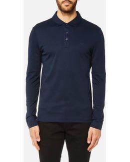 Men's Liquid Jersey Long Sleeve Polo Shirt