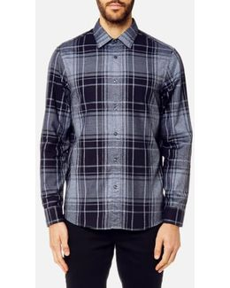Classic Fit Giant Check Peached Cotton Long Sleeve Shirt