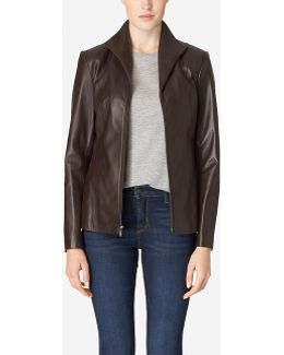 Italian Leather Wing Collar Jacket