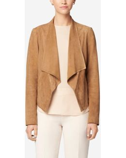 Double Face Suede Open Front Jacket