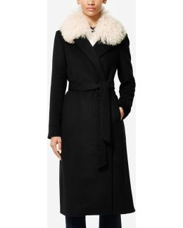 Collection Shearling Collar Wool Twill Maxi Coat