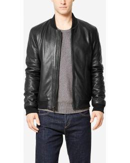Spanish Grainy Leather Varsity Jacket