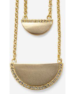 Madison Avenue Pavé Half-moon Double-layer Necklace