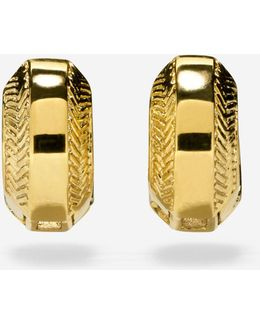 Marine Links Basket Weave Huggie Earrings