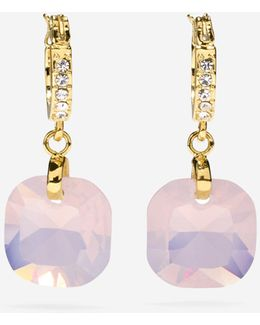 Gem Drops Square Semi-precious Stone Huggie Earrings