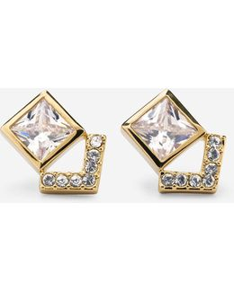 Love Triangle Cz Stud Earrings
