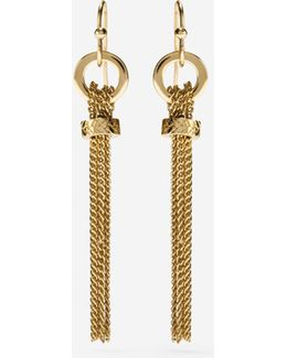 Put A Ring On It Linear Chain Tassel Earrings