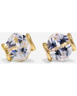 Brilliant Cubic Zirconia Cushion Cut Stud Earrings