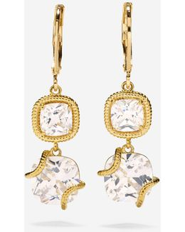 Brilliant Cubic Zirconia Double Drop Leverback Earrings