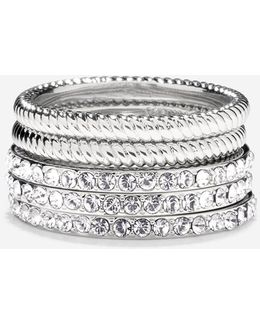 Brilliant Cubic Zirconia Swarovski Stacked Ring Set
