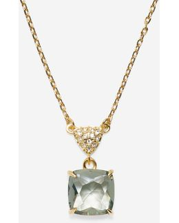 Brilliant Cubic Zirconia Cushion Cut Solitaire Necklace
