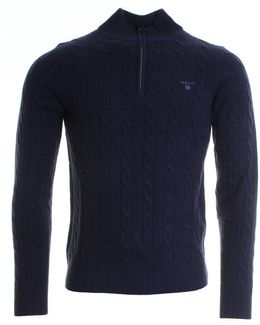 Lambswool Cable Mens Zip