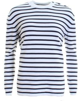 Mozart Milano Stripe Long Sleeve Womens Crew Neck