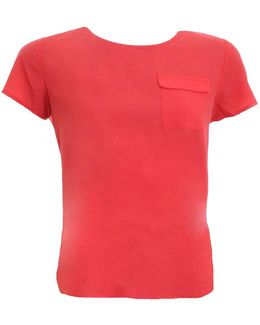 Classic Crepe Light Short Sleeve Round-neck Womens Pocket Shirt
