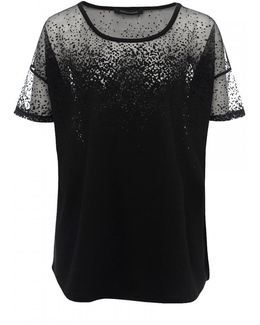 Sheer Space Jersey Short Sleeve Round-neck Womens Top