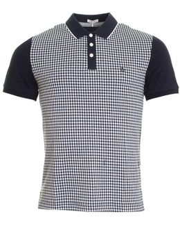 Gingham Jacquard Front Mens Polo