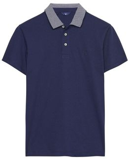 Striped Collar Jersey Mens Polo Shirt