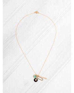 Onyx & Aqua Beads Charm Necklace