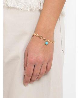Oval Link Bracelet With Stone Bead