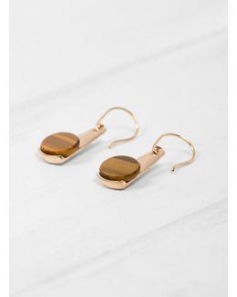 Oval Tigers Eye Hook Earrings