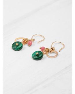 Stone Disks & Beads Hook Earrings