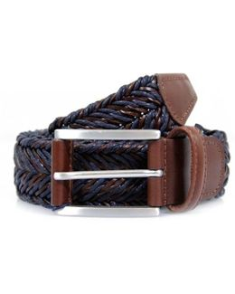 Braided Twine And Leather Belt