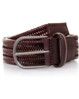 Elasticated Woven Braided Leather Belt