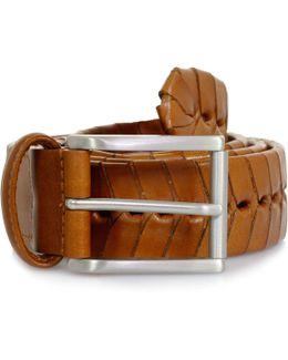 Stitched Chevron Leather Belt