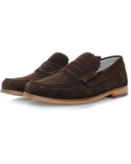 Ashley Chocolate Suede Loafer Shoe 110817
