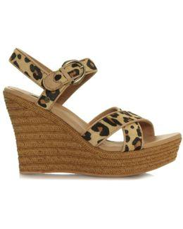 Jazmine Leopard Calf Hair Wedge Sandal