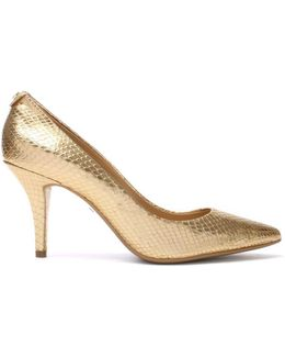 Flex Mid Gold Reptile Leather Pump