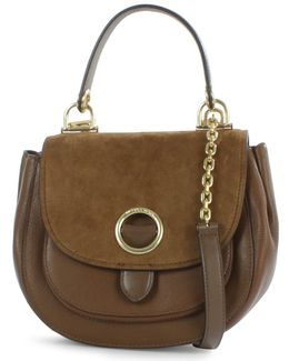 Isadore Medium Dark Caramel Suede & Leather Messenger Bag