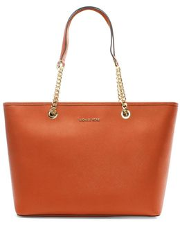 Jet Set Travel Orange Leather Multifunctional Top Zip Tot