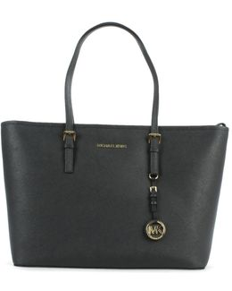 Jet Set Multifunctional Black Leather Top Zip Tote