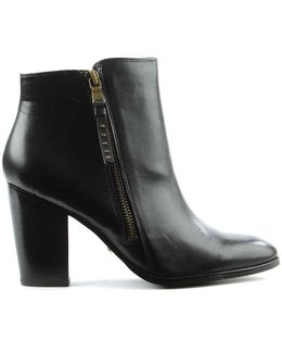 Fahari Black Leather Stacked Heel Western Ankle Boot