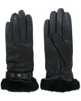 Lizard Black Leather Belted Glove