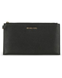 Mercer Large Black Leather Clutch Bag