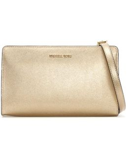 Jet Set Travel Large Pale Gold Saffiano Leather Clutch Ba
