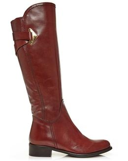 Santia Tan Leather Cross Strap Knee Boot