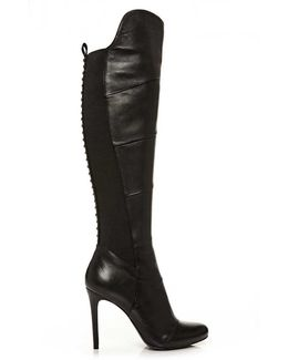 Strada Black Leather Stiletto Heel Knee Boot