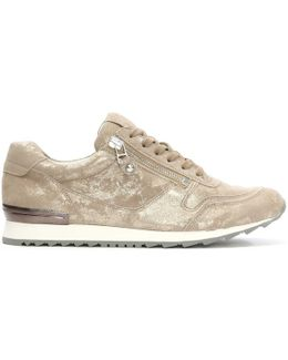 Redemption Ii Taupe Metallic Suede Lace Up Trainer
