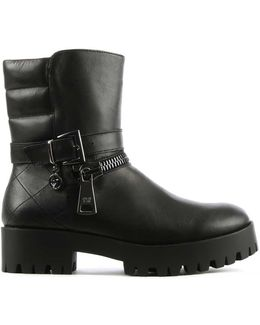 Black Leather Buckle & Zip Biker Boot