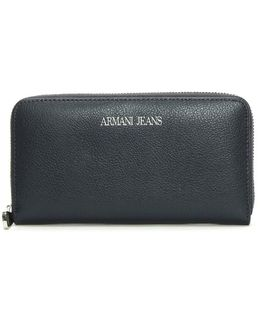 Large Navy Leather Zip Around Wallet