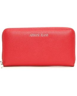 Large Red Leather Zip Around Wallet
