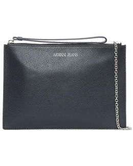 Flat Navy Leather Wallet Strap Bag