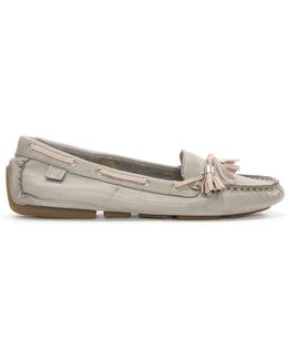 Alivia Grey Leather Moccasin