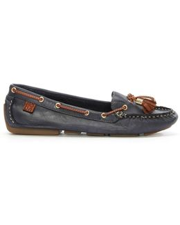 Alivia Navy Leather Moccasin